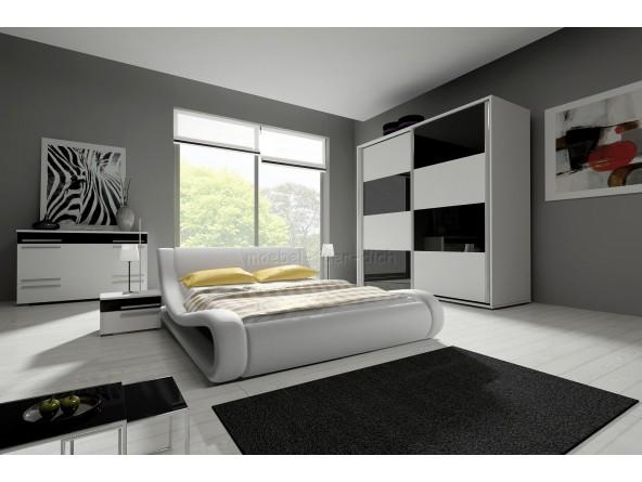 Hochglanz Komplett Schlafzimmer ANGELO mit Designer Polsterbett weiß/schwarz