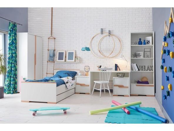 Jugendzimmer Set Snap von PINIO 4-tlg. bestehend aus Bett, Schreibtisch und zweitürigem Schrank