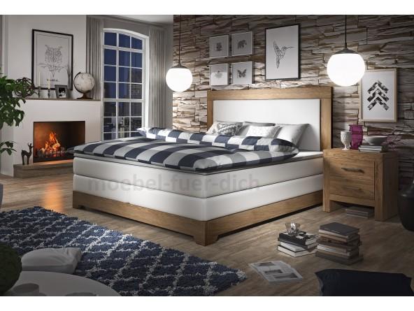 Boxspringbett Wooden mit massivem Holzrahmen aus Eichenholz bezogen mit Kunstleder in weiß oder schwarz