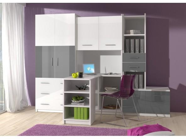 Jugendzimmer Kinderzimmer-Set KATI mit Eckschreibtisch, Schrank und Regal in Hochglanz weiß/schwarz,  grau, rosa oder violett