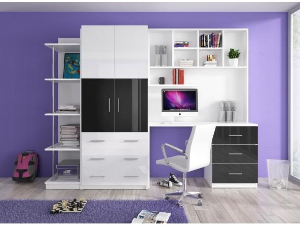 Jugendzimmer Kinderzimmer MATI - Schreibtisch, Schrank, Regal Hochglanz weiß/schwarz, grau, rosa, lila