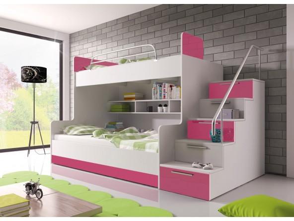 Hochglanz Etagenbett Doppelbett ALEX mit Regalen, Treppe und Bettkasten