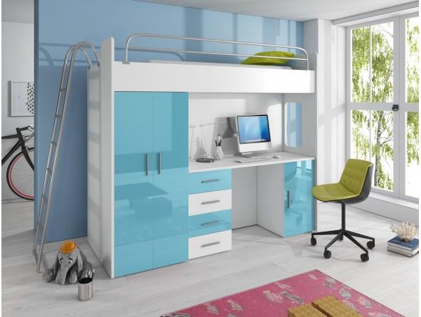 NICKI - Hochbett mit Kleiderschrank und Schreibtisch mit Hochglanz-Fronten in weiß / grau / schwarz / lila / blau / rosa