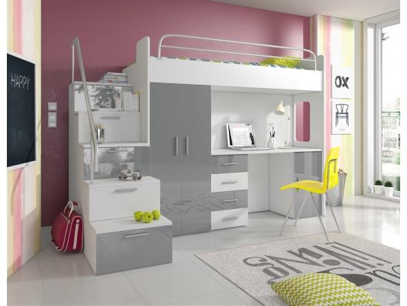 Hochglanz Hochbett PATI mit Schreibtisch, Kleiderschrank und Fächern in den Treppenstufen