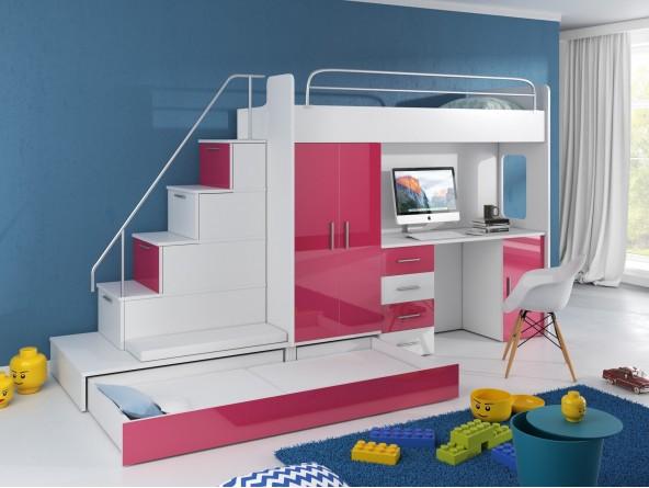 Hochbett TOMI - Schreibtisch, Schrank, Treppe und Gästebett mit Hochglanz-Fronten