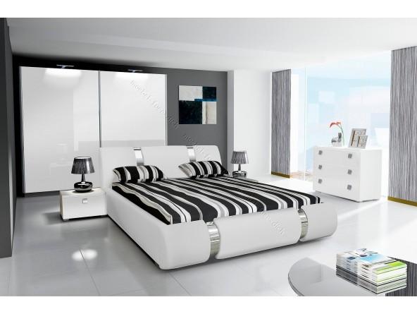 Komplett Hochglanz Schlafzimmer RIVA II mit Designer - Polsterbett weiß oder schwarz