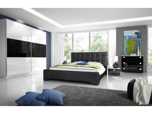 Hochglanz Komplett Schlafzimmer RivaROXI in weiß oder schwarz, Polsterbett mit Glitzersteinen in Kristall - Optik
