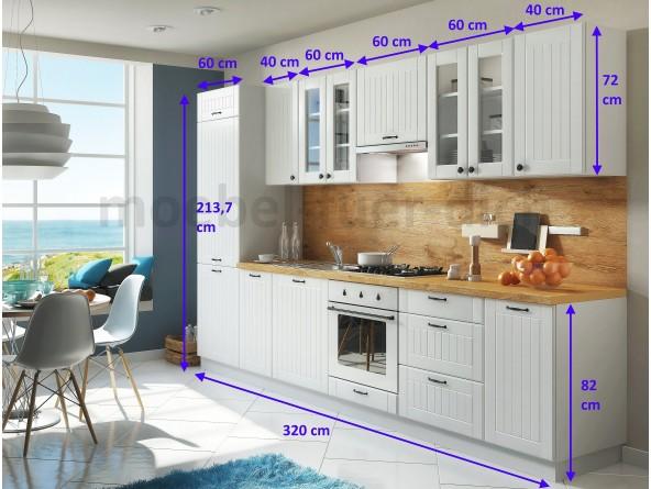 Landhausküche mit Lamellen LORA 320 cm - Abmessungen