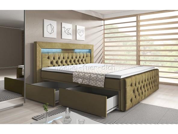 Boxspringbett Verona mit zwei Bettkästen, Chesterfield Polsterung und LED