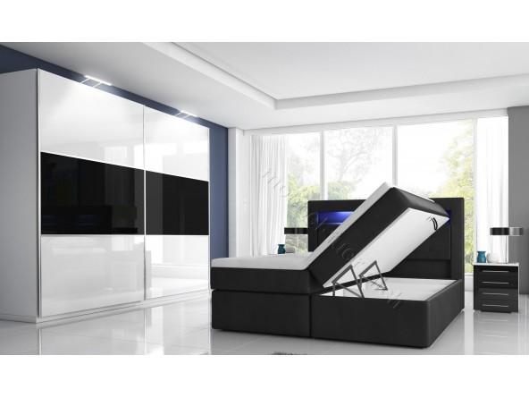 Komplettes Hochglanz-Schlafzimmer mit Boxspringbett mit zwei Bettkästen weiß oder schwarz