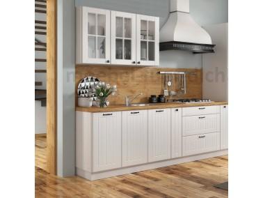 Landhaus Einbauküche Lora 240 cm 7-teilig in Weiß