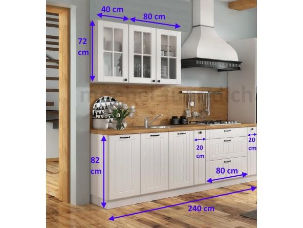 Landhaus Einbauküche Lora 240 cm 7-teilig - Abmessungen