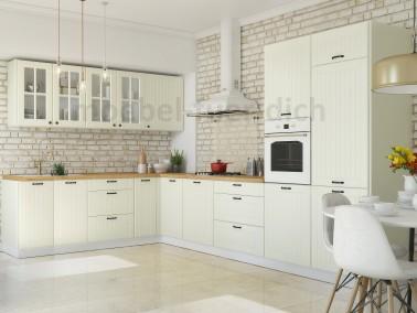 Eckküche Lora im Landhausstil in Beige - Beispiel