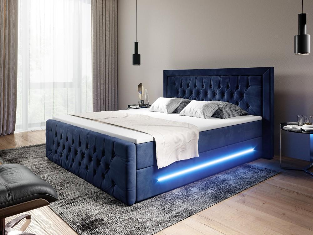 Boxspringbett Ravenna mit LED, Chesterfield-Polsterung und Bettkasten