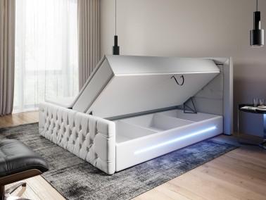 Boxspringbett mit Bettkasten aus weißem Kunstleder
