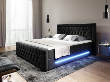 Boxspringbett schwarz mit LED
