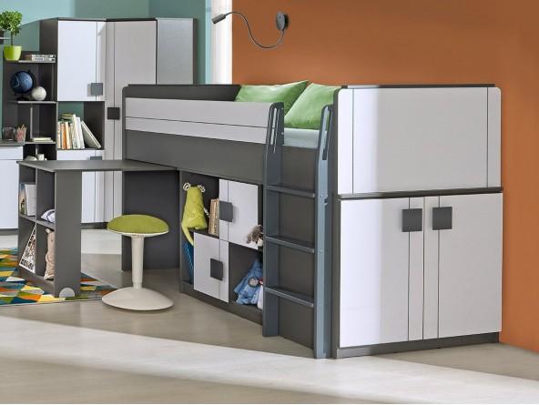 Komplett Jugendzimmer Set MAX 3-tlg. Hochbett mit Schreibtisch + Schrank + Sideboard