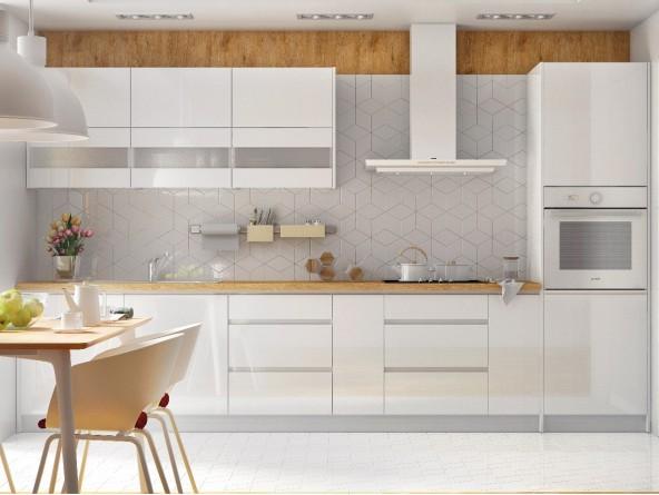 Campari Küchenzeile 360 cm Hochglanz Weiß