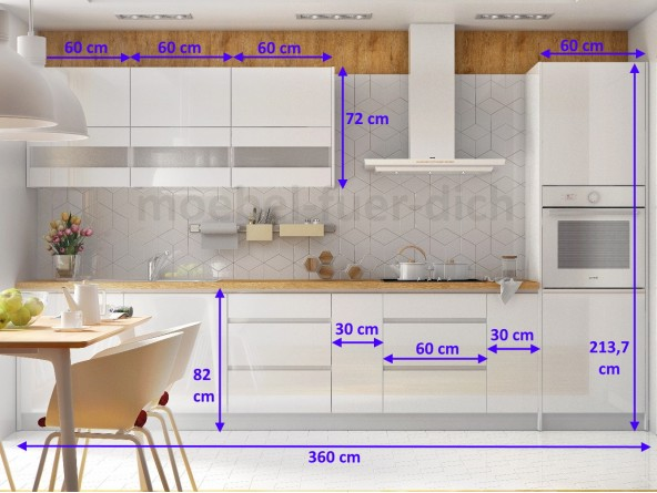 Campari Küchenzeile 360 cm - Abmessungen