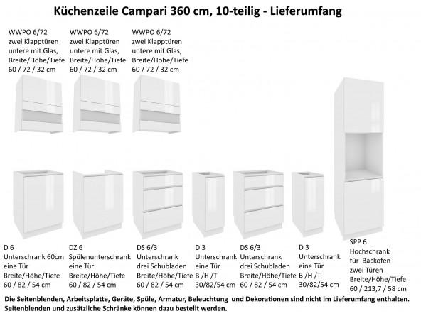 Campari Küchenzeile 360 cm Lieferumfang