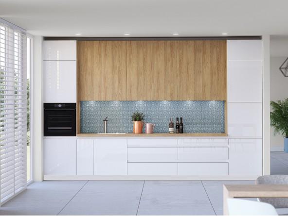 Küche Campari - Beispielkonfiguration mit hohen Schränken in Holzdekor