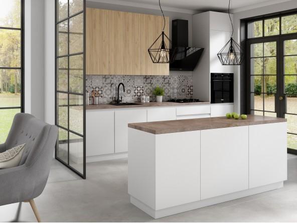 Küche Campari mit Insel - Weiß Matt Beispielkonfiguration