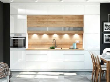 Küche Campari weiß mit Holzdekor mit Aufsatzschränken Beispielkonfiguration