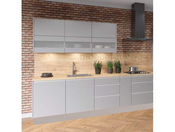 Küchenzeile Campari 270 cm Fronten und Korpus grau