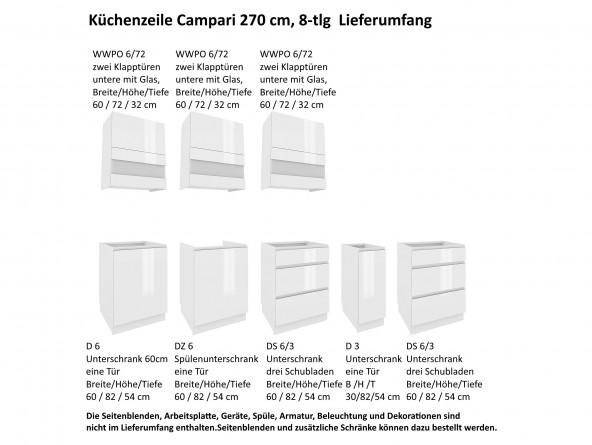 Küchenzeile Campari 270 cm - Lieferumfang