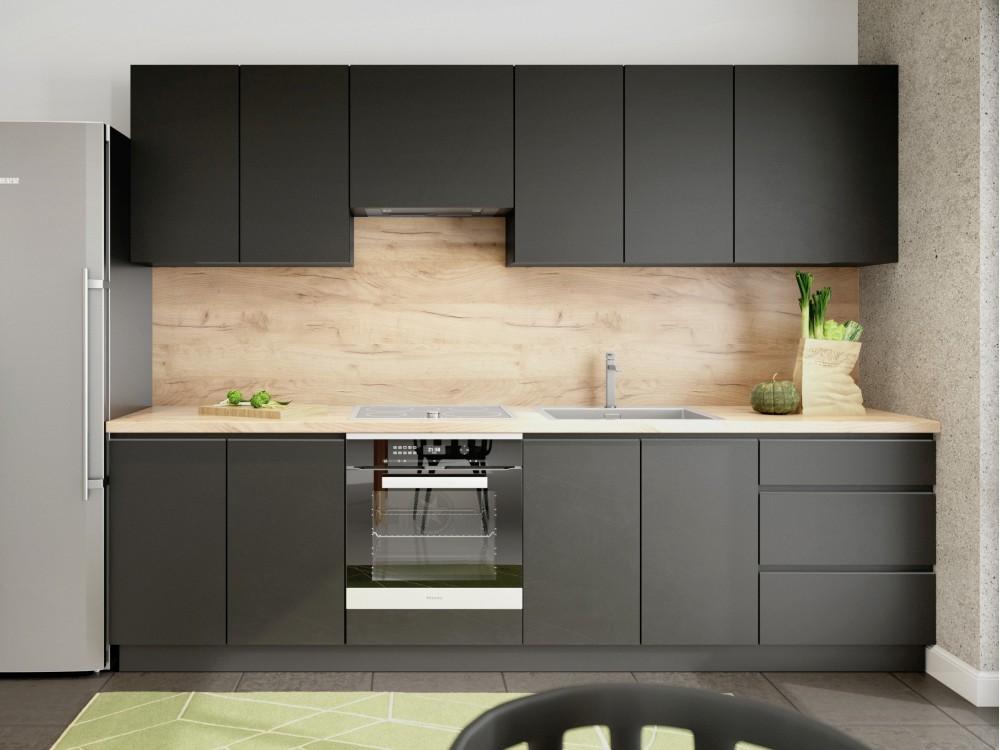 Küche Campari 280 cm Schwarz Matt