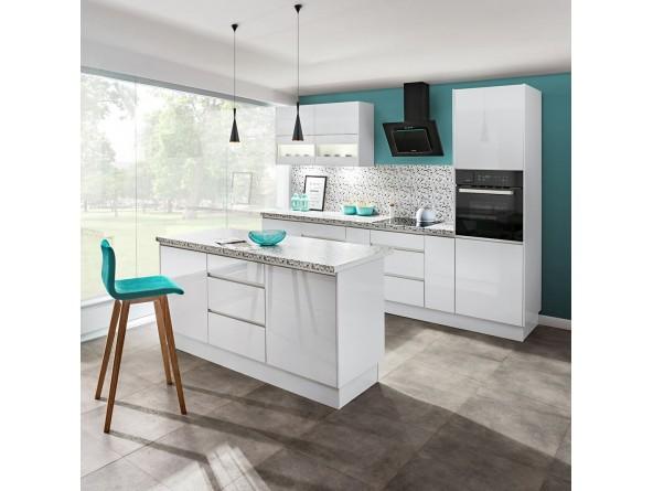 Küche Campari -Beispielkonfiguration Hochglanz Weiß mit Insel