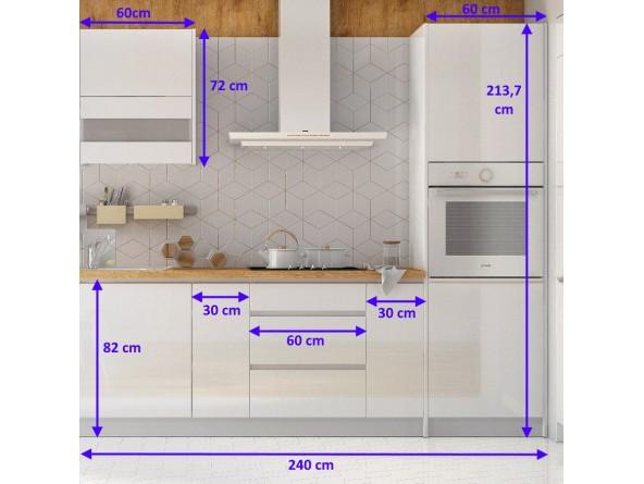 Küchenzeile Campari 240 cm - Abmessungen