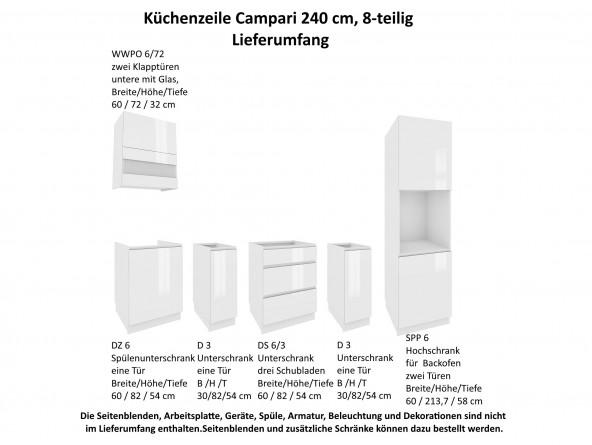 Küchenzeile Campari 240 cm - Lieferumfang