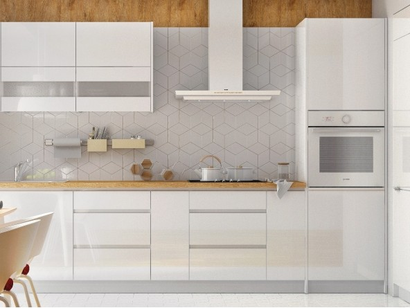 Grifflose Hochglanz Einbauküche Küchenzeile Campari 300 cm, 8-teilig, in Weiß