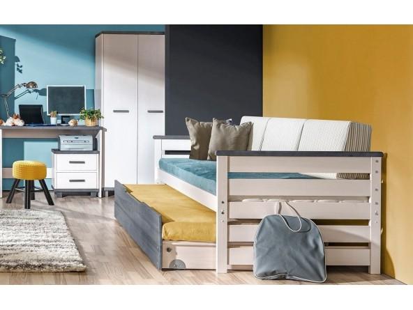 Jugendzimmer ALAN aus Massivholz - vierteiliges Komplettset mit Bett, Bettkasten, Schrank und Schreibtisch