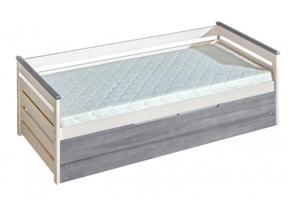 ALAN Bett 200x90 cm mit Rückenkissen und Bettkastenschublade