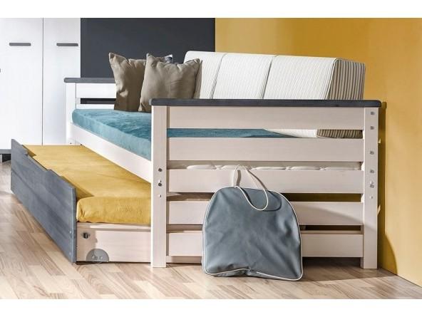 ALAN Bett 200x90 cm mit Rückenkissen, Gästebett und Bettkasten