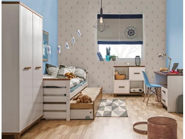 Massivholz Jugendzimmer Set ALAN 6-tlg. mit Bett, Gästebett, Schrank, Schreibtisch und wahlweise Standregal oder Kommode.