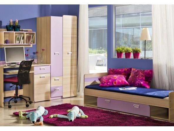 Jugendzimmer Lorento Sparset Bett mit Schublade, Kleiderschrank zweitürig und Schreibtisch