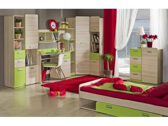 Komplett Jugendzimmerset Lorento 8-tlg. Schrank, Schreibtisch, Bett, Kommode und 4 Regale