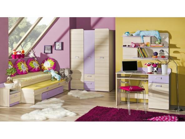 Komplett Jugendzimmer Lorento 6-tlg: zwei Schränke, Schreibtisch, Regal, Bett mit Gästebett und Nachttisch.