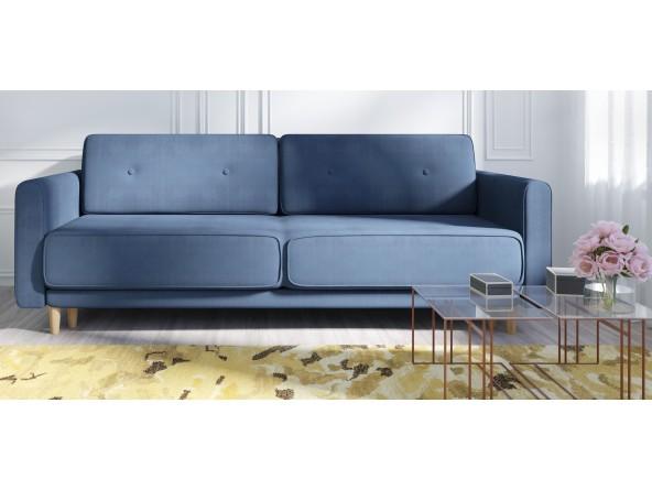Luxus Designersofa Retro mit Kaltschaumpolsterung, Schlaffunktion, Bettkasten und Farbauswahl