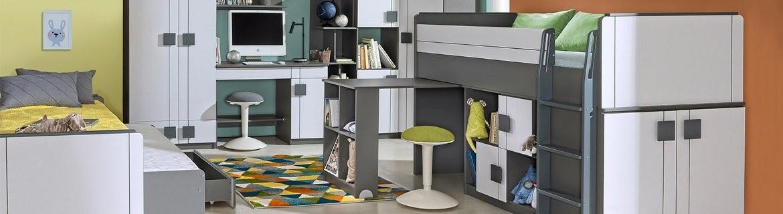 Günstige Kinder- und Jugendmöbelkollektion MAX mit Hochbett mit Schreibtisch